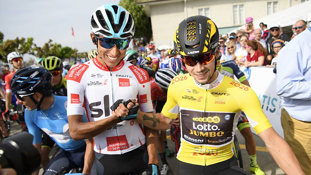 Tour-Vorjahressieger Egan Bernal (links) 2018 mit seinem Konkurrenten Primoz Roglic