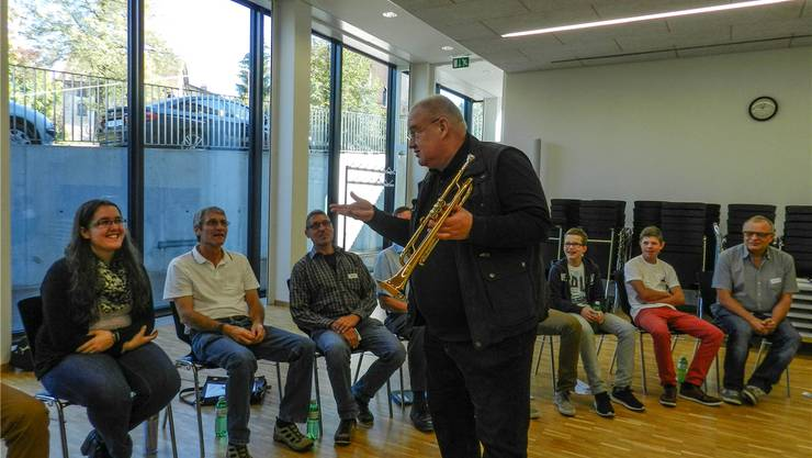 Trompeter und Musikpädagoge Malte Burba am Brass-Workshop. Jörg Baumann