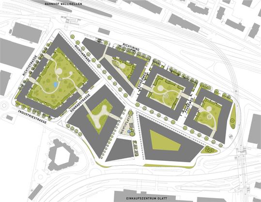Wohnen rund um begrünte Innenhöfe ist in der Zürcher Agglomeration bereits möglich.