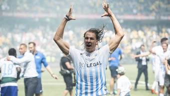 Michael Frey jubelt über den Cupsieg seines FCZ. Auch mit seinem Treffer zum 1:0 war er massgeblich am Erfolg beteiligt.
