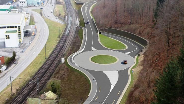 Die Visualisierung zeigt den neuen Kreisel Brugg West, der ein wichtiger Bestandteil der geplanten Südwestumfahrung ist.