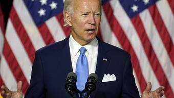 Joe Biden, designierter Präsidentschaftskandidat der US-Demokraten, redet während einer Pressekonferenz. Foto: Carolyn Kaster/AP/dpa