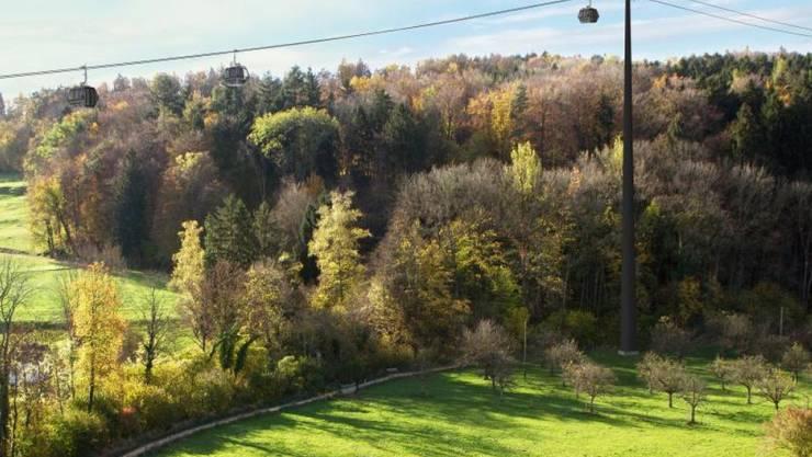 Die Stadt Dübendorf kämpft weiter gegen die geplante Gondelbahn zum Zoo. Sie zieht vor Verwaltungsgericht. (Visualisierung)