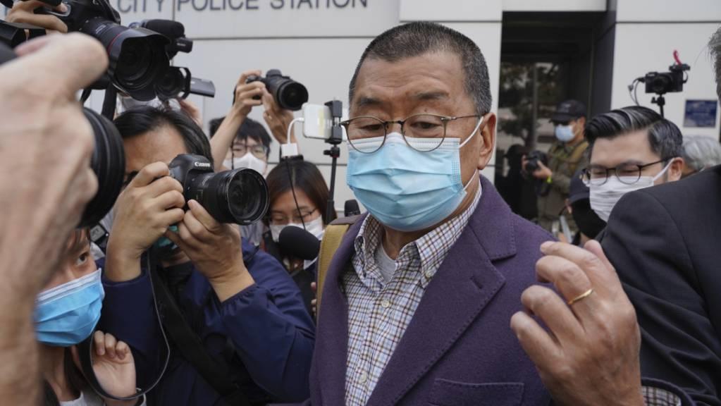 Der Hongkonger Medienunternehmer  Jimmy Lai ist festgenommen worden. (Archivbild)
