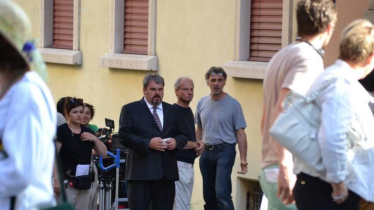 """Während des Maienzuges in Aarau am 5.7.2013  wurden Szenen gedreht für die SRF-Serie """"Der Bestatter"""" mit Mike Müller."""