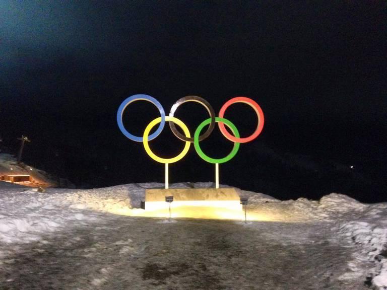Die Olympischen Ringe in Sotschi.