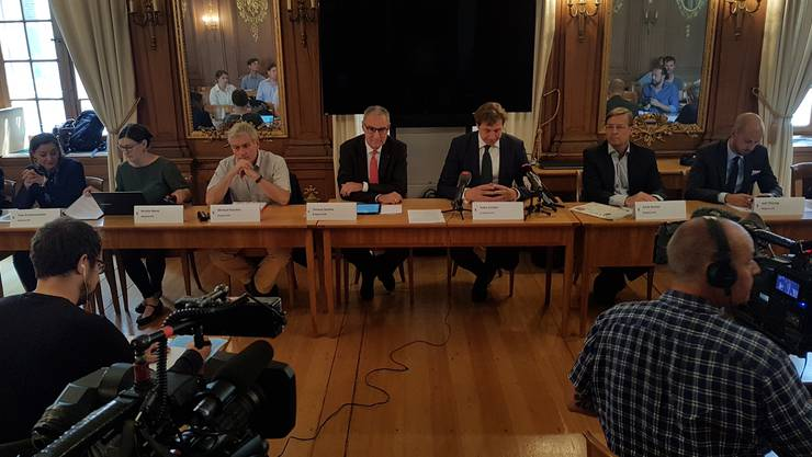 Neue Eskalationsstufe: Die Basler GPK während der Medienkonferenz.