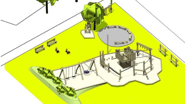 Der neue Spiel- und Begegnungsplatz ist auf der Wiese beim Schulhaus geplant.Rudolf Spielplatzgestaltung GmbH