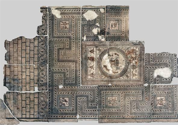 Ein Ausschnitt des Gladiatorenmosaik, das 1961 in Augst entdeckt wurde und nun in Zusammenarbeit mit Avenches restauriert wird. Zvg
