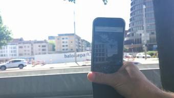 Mit der App «Baloise Park» kann man auf der Baloise-Baustelle in die Zukunft schauen