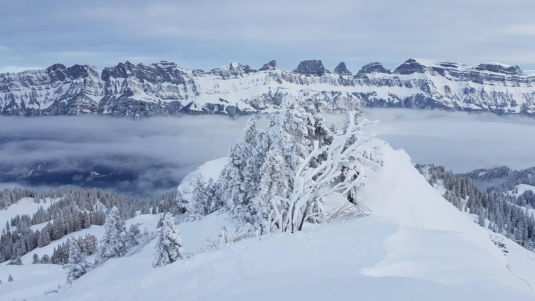 Am Wochenende wird viel Schnee und starker Wind erwartet. Die Bergbahnen Flumserberg freuen sich auf den grossen Schnee.