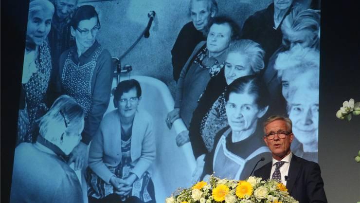 Rückblick von Reusspark-Direktor Thomas Peterhans in die Zeiten der Pflegeanstalt Gnadenthal.