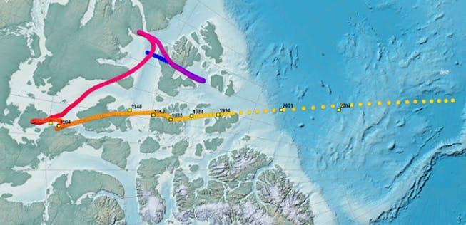 Die Wanderung des magentischen Nordens über die Jahre bis 2020.
