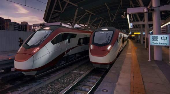Visualisierung der Stadler-Züge für Taiwan im Bahnhof der Industriestadt Taichung an der Westküste der Insel.