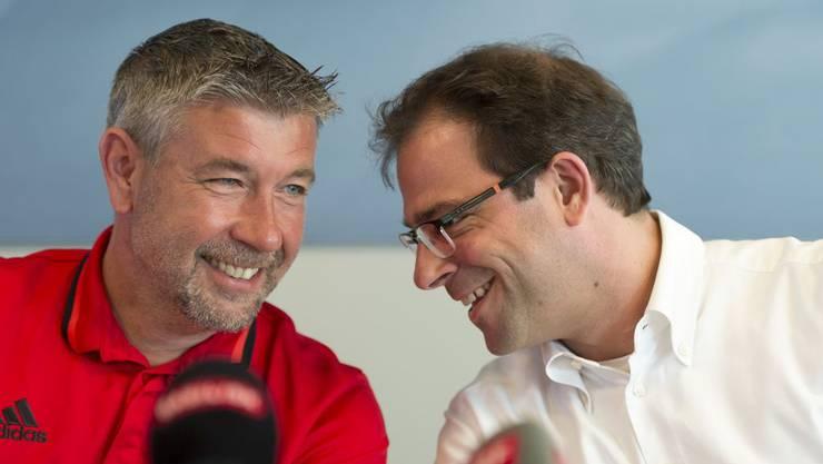 Der FCB-Cheftrainer Urs Fischer (links) und Sportchef Georg Heitz blicken zuversichtlich auf die neue Saison.