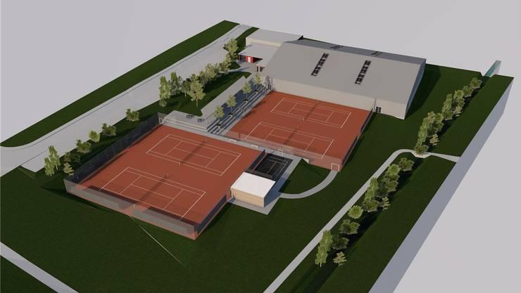 So sollen die neue Tennishalle und die vier neu angeordneten Aussenplätze aussehen. (Visualisierung)