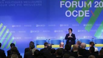 Der japanische Premier Shinzo Abe beim OECD-Treffen in Paris