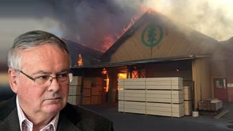Das Feuer verwüstete am Mittwochabend mehrere Holzlager des Despond-Sägewerks von SVP-Nationalrat Jean-Francois Rime in Bulle (FR).