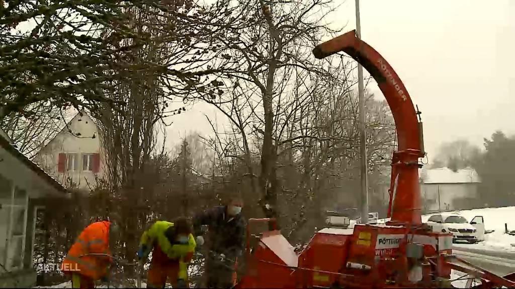 Nach erneutem Schneefall: Aarauer Werkhof hilft Privaten