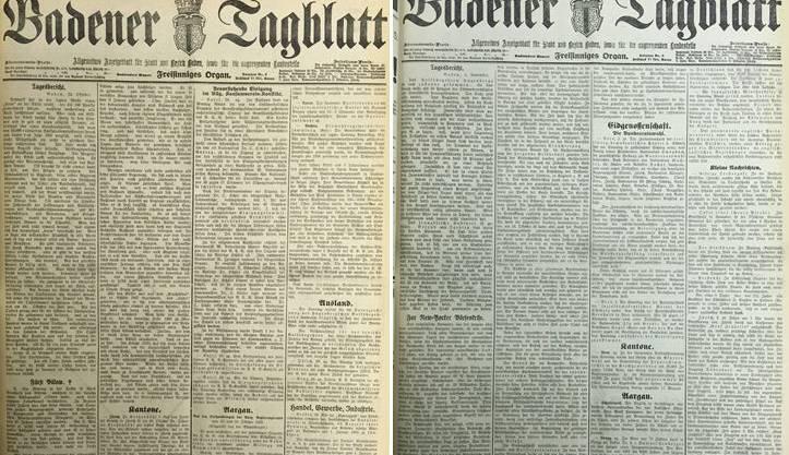 Front-Seiten des Badener Tagblatts vor 85 Jahren. Am 4. November 1929 (rechts) widmete die Zeitung rund ein Drittel der Frontseite der Börsenkrise in New York.