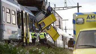 Beim Zugunglück in Granges-Marnand VD vor vier Jahren kam ein 24-jähriger Lokführer ums Leben, 26 Personen wurden verletzt. (Archivbild)