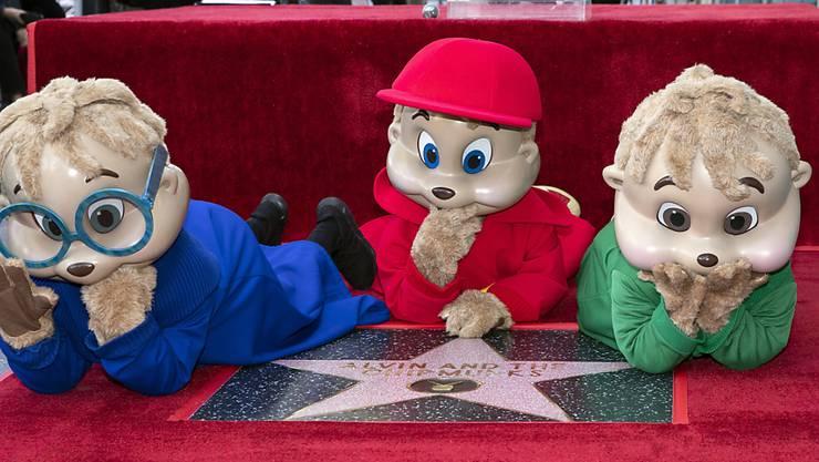 """Alvin and the Chipmunks sind berühmt für ihre piepsigen Stimmen. Jetzt bekommen die Streifenhörnchen einen Stern auf dem """"Walk of Fame"""", nachdem dort bereits Comic-Figuren wie Mickey Mouse, Bugs Bunny oder Snoopy geehrt werden."""