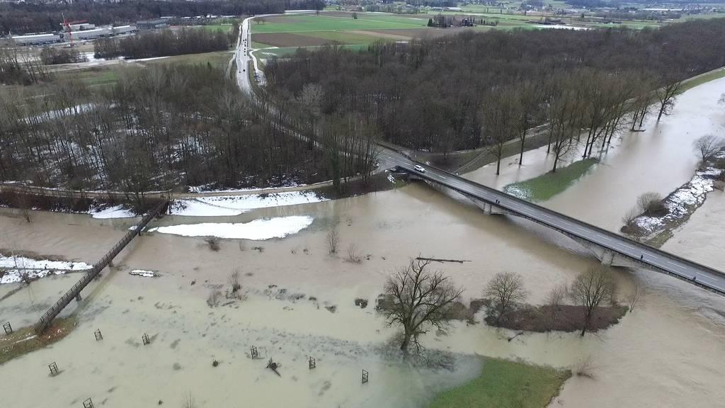 Drohnenbilder zeigen Überschwemmung in Frauenfeld