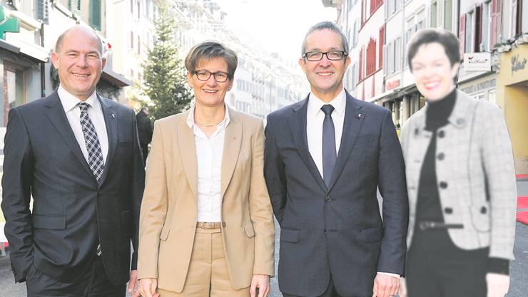 Den bisherigen Regierungsräten Anton Lauber, Sabine Pegoraro und Thomas Weber (v.l.) ist die Unterstützung durch die Handelskammer gewiss. Vorbehalte gibts gegenüber der neuen FDP-Kandidatin Monica Gschwind (r.).