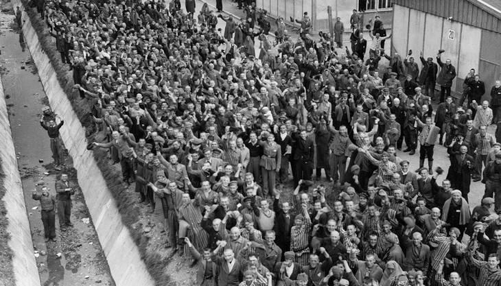 Das Konzentrationslager Dachau bei der Befreiung im April 1945. AP