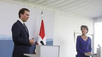 Bundespräsidentin Simonetta Sommaruga beim offiziellen Staatsbesuch von Bundeskanzler Sebastian Kurz am Freitag in Bern.