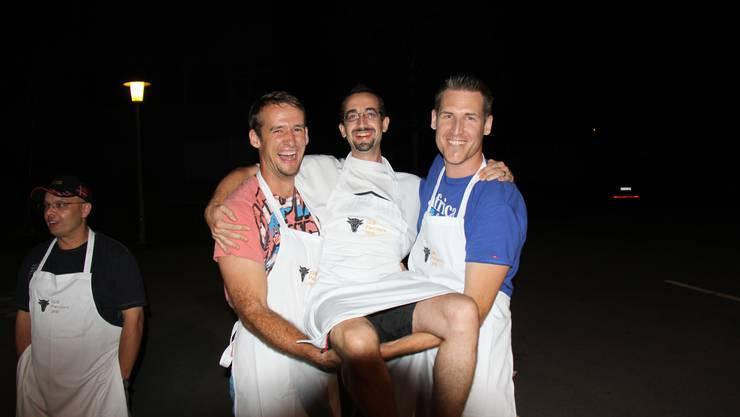 Die Volleyballer Renzo, Yves und Michi (v.l.n.r)