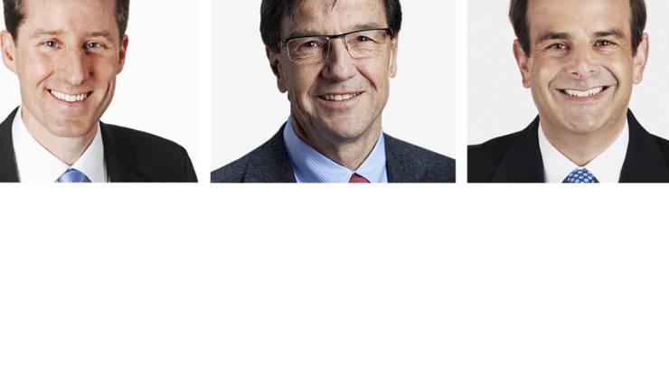 Die drei wiedergewählten Zuger Nationalräte, von links: Thomas Aeschi (SVP), Bruno Pezzatti (FDP) und Gerhard Pfister (CVP).