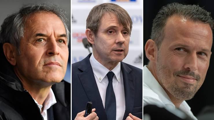 Im Zentrum des Chaos: Trainer Marcel Koller, Präsident Bernhard Burgener, ex-Sportchef Marco Streller.