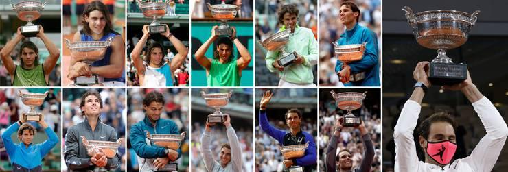 Von 2005 bis 2020 gewann Rafael Nadal 13 Mal die French Open.