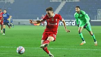 Der dritte Streich: Diogo Jota, von Wolverhampton im Sommer zu Liverpool gewechselt trifft gegen Bergamo dreifach.