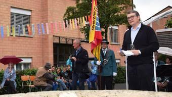 Oliver Gerlinger in Aktion: Hier an der Eröffnung des 950-Jahr-Jubiläums der Gemeinde Schinznach-Bad im August 2014.