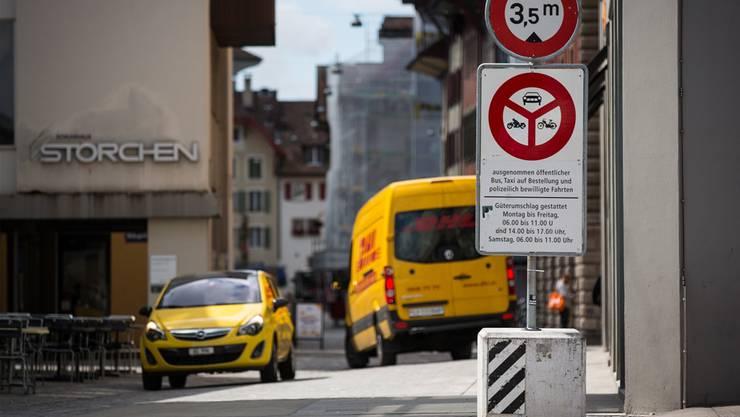 In der Altstadt ist der Güterumschlag zu bestimmten Zeiten sowie mit Ausnahmebewilligung erlaubt.