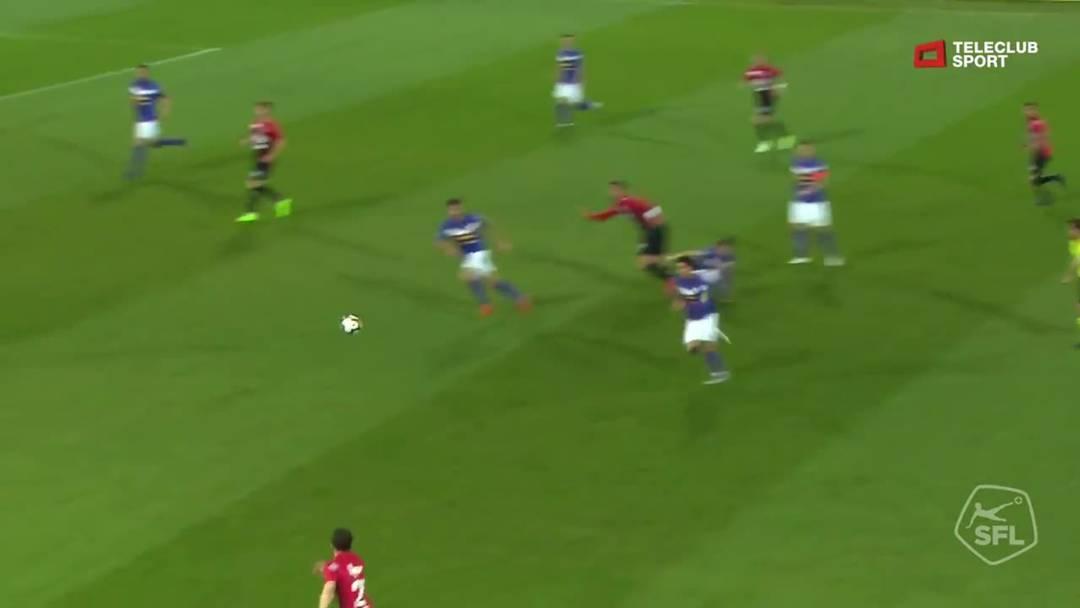 29. Minute: Der FCA reagiert auf die Druckphase der Schaffhauser, Elsad Zverotic  schiesst nach einem Assist von Varol Tasar das 3:0