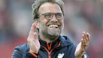 Und wie er Strahlen kann: Jürgen Klopp bleibt mit Liverpool in der Premier League siegreich