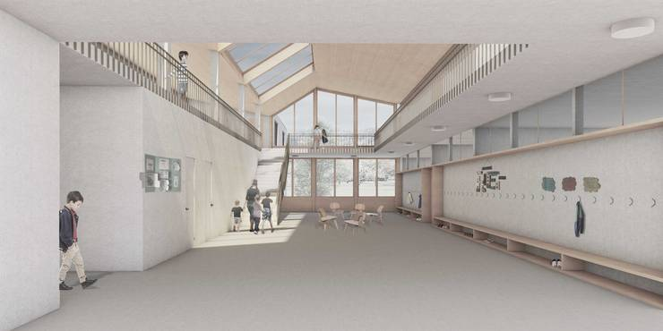 Sicht in den künftigen Innenraum des Schulhauses.
