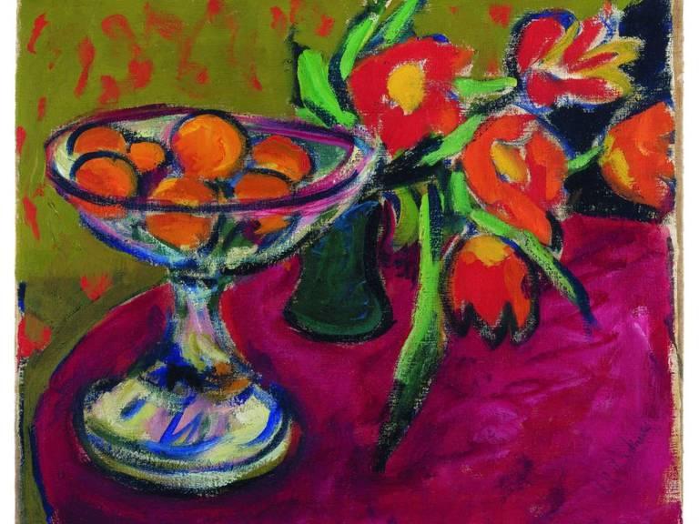 """Ernst Ludwig Kirchners «Stillleben mit Orangen und Tulpen» (1909) ist eines der Exponate der Ausstellung """"Kirchner, Léger, Scully & mehr"""" in Vaduz, die wegen grosser Nachfrage um ein Jahr verlängert wird. (zVg, Ausschnitt)"""