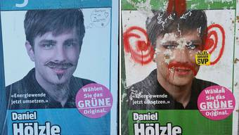 Daniel Hölzle, grüner Nationalratskandidat aus Zofingen, nimmt die Verunstaltungen seiner Wahlplakate mit Humor.