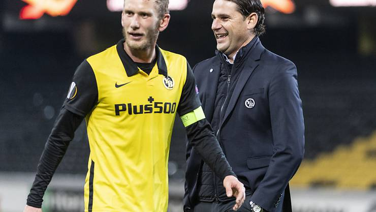Auswärtsschwäche hin oder her: Trainer Gerardo Seoane und Captain Fabian Lustenberger sind gut gelaunt