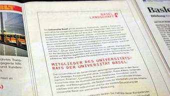 Der Kanton Baselland sucht per Zeitungsinserat, das auch in der bz erschienen ist, nach neuen Uni-Räten.