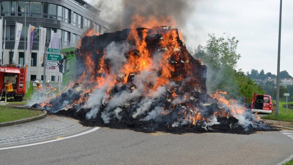 Fünf Tonnen Stroh brannten lichterloh