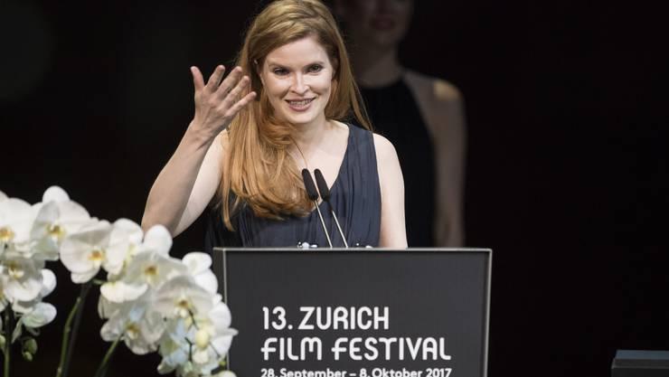 "Lisa Bruehlmann receives the golden eye for her movie ""Blue My Mind"" during the Award Night ceremony at the 13th Zurich Film Festival (ZFF) in Zurich, Switzerland, Saturday, October 7, 2017. The festival runs from 28 September to 08 October. (KEYSTONE/Ennio Leanza)"