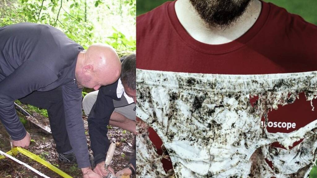 Zwei Methoden, um die Bodenqualität zu testen: Links die deutsche mit Teebeuteln, rechts die schweizerische mit Unterhosen (Archivbilder dpa/Keystone)