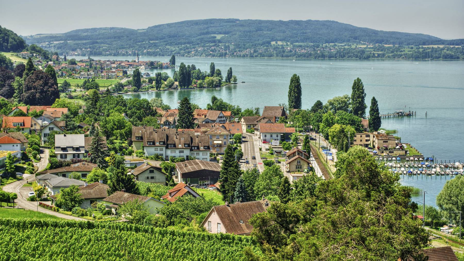 July 2015, the village Mannenbach and the Untersee (Lake Constance), HDR-technique