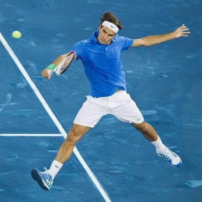 Perfekt in der Haltung: Roger Federer spielte solid, muss sich des öftern aber strecken.