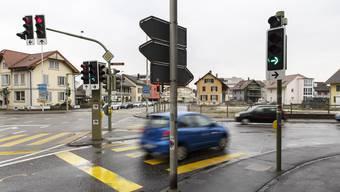 Aus der heutigen Kreuzung wird in ein bis zwei Jahren ein Kreisel mit Bypass.
